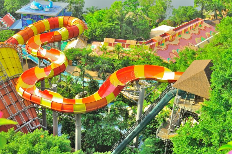 Sunway Lagoon water theme park over view. The over top view of a lengthy, high rise and thrilling Sunway Lagoon water slides royalty free stock photos
