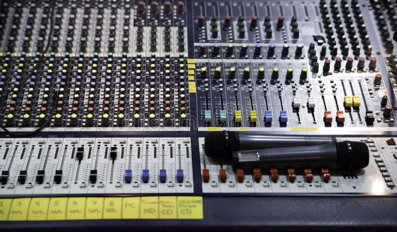 View on sound mixer with regulation buttons stock images