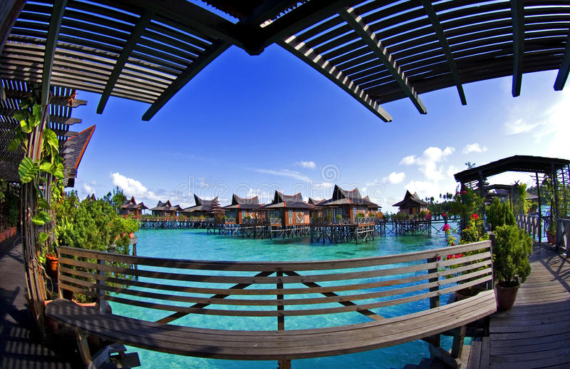 Over water bangalow in Mabul Island royalty free stock photos