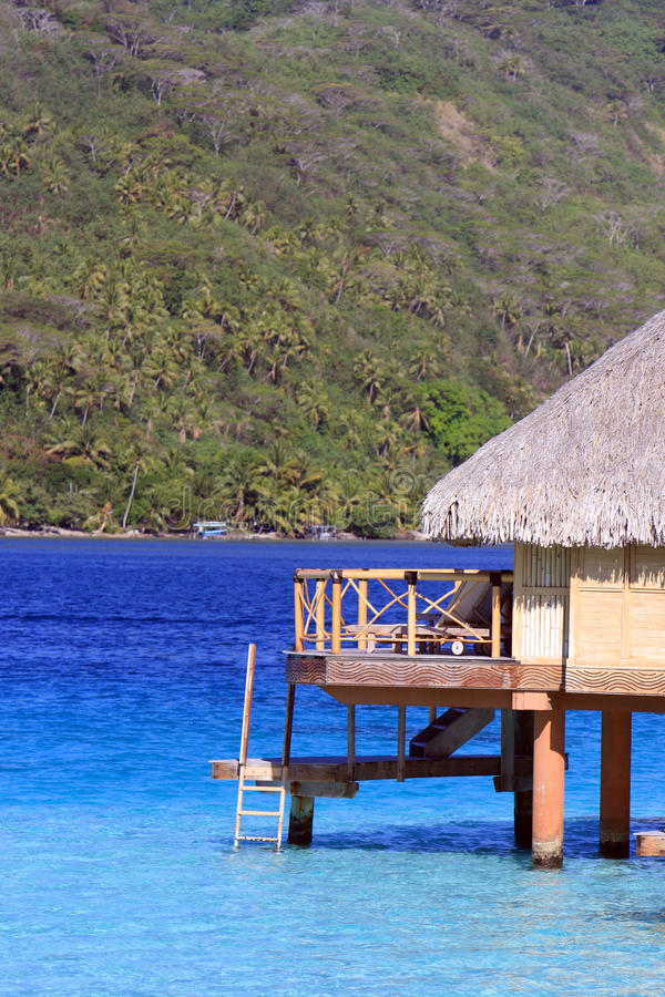 Over water bungalow accommodation in Bora Bora royalty free stock photo