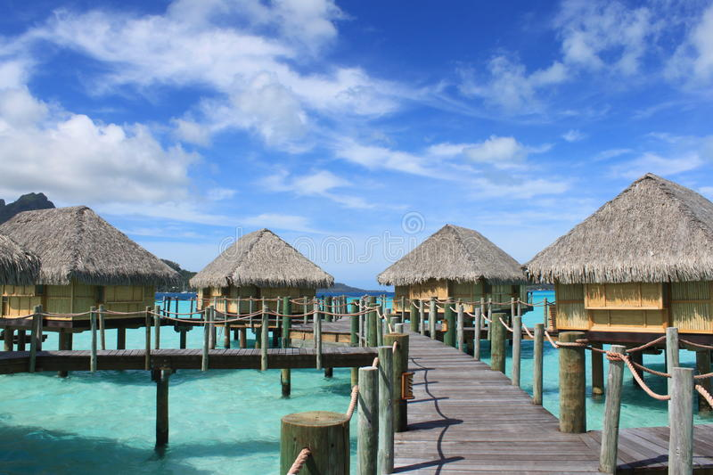 Over the Water Bungalows. At Pearl Beach Resort on Bora Bora stock images