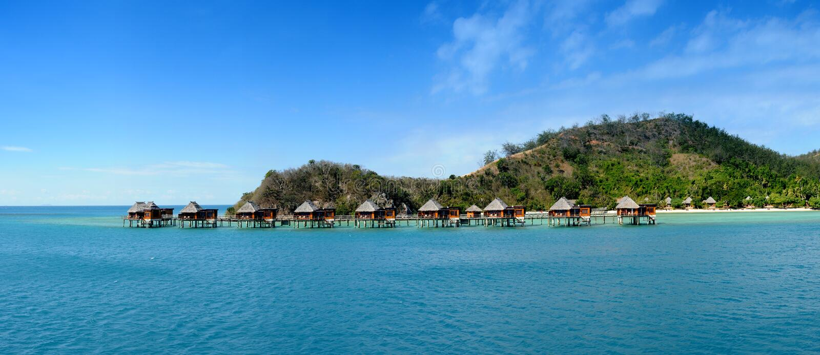 Over water bungalows. On tropical island in Fiji stock image