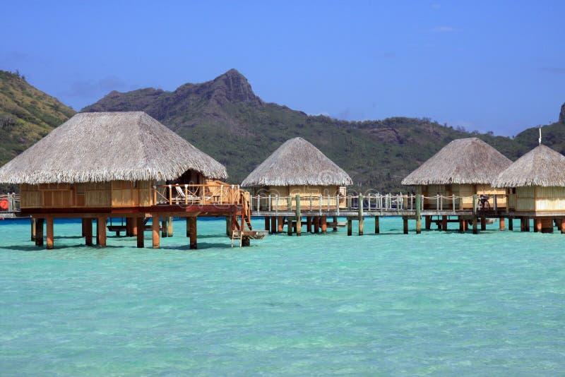 Over water bungalows in Bora Bora royalty free stock photo