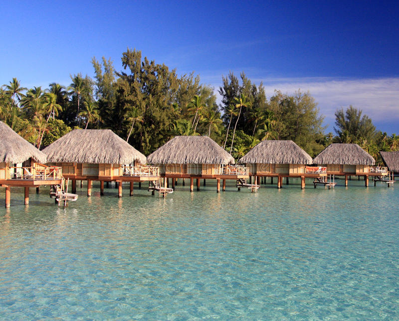 Over water bungalows in Bora Bora royalty free stock image