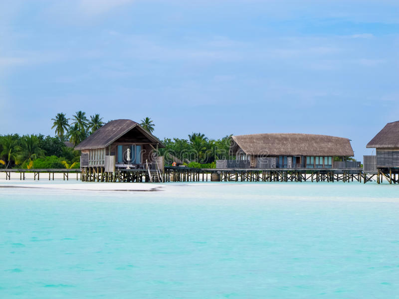 Over water bungalows at maldives stock image