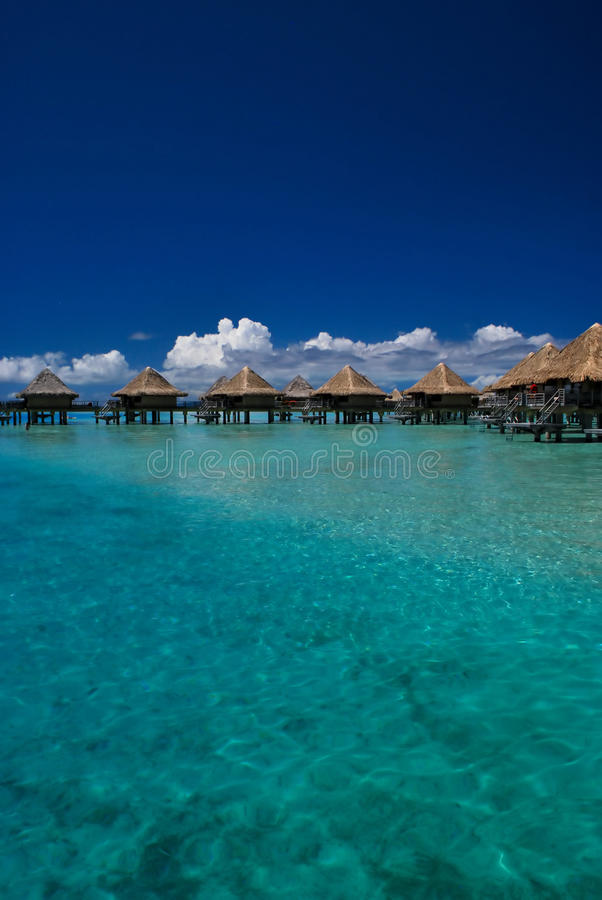 Over water bungalows in Moorea stock photo