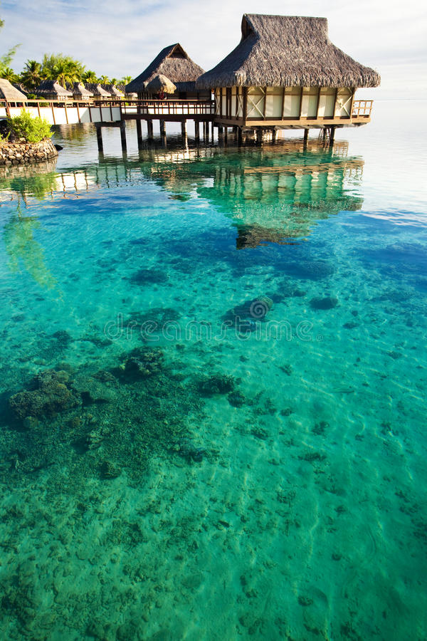 Over water bungalows over amazing coral lagoon. Over water bungalows over amazing lagoon with coral royalty free stock photo