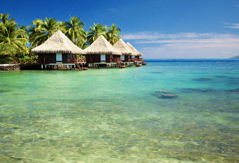 Over water bungalows with steps into lagoon. Over water bungalows with steps into amazing green lagoon stock images