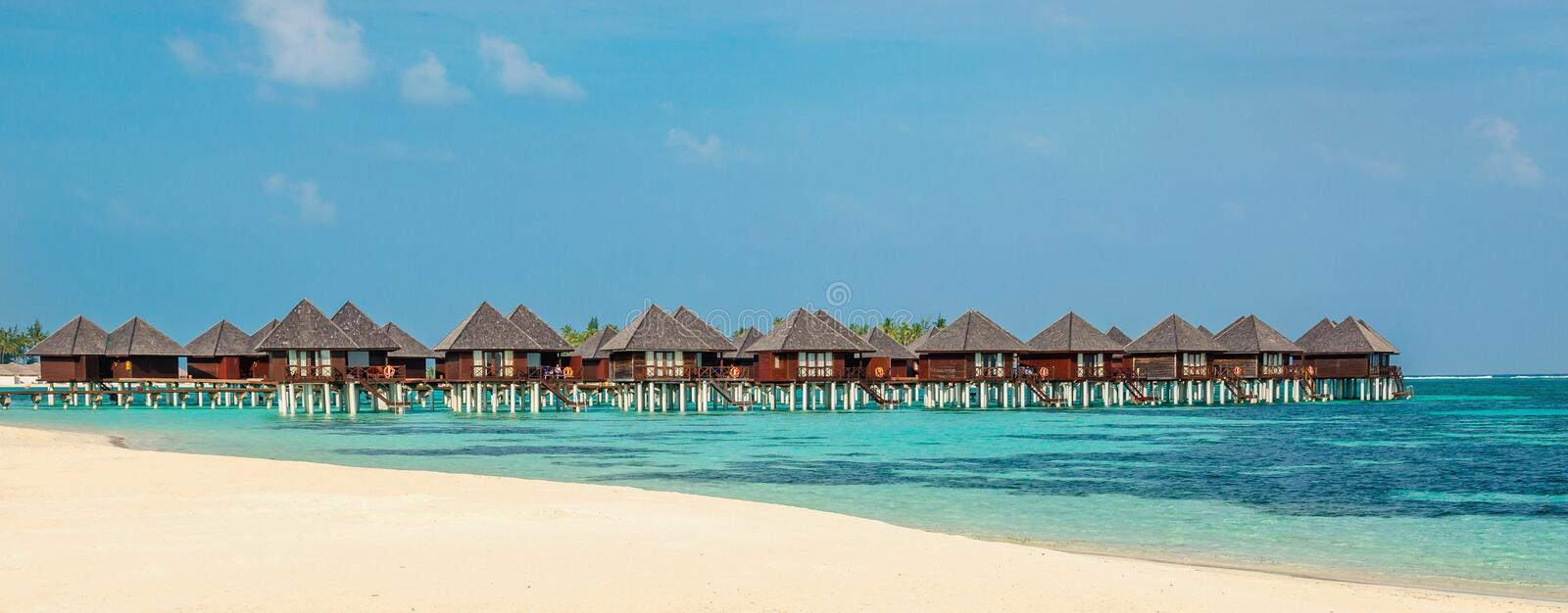 Over water bungalows on a tropical island, Maldives royalty free stock photography