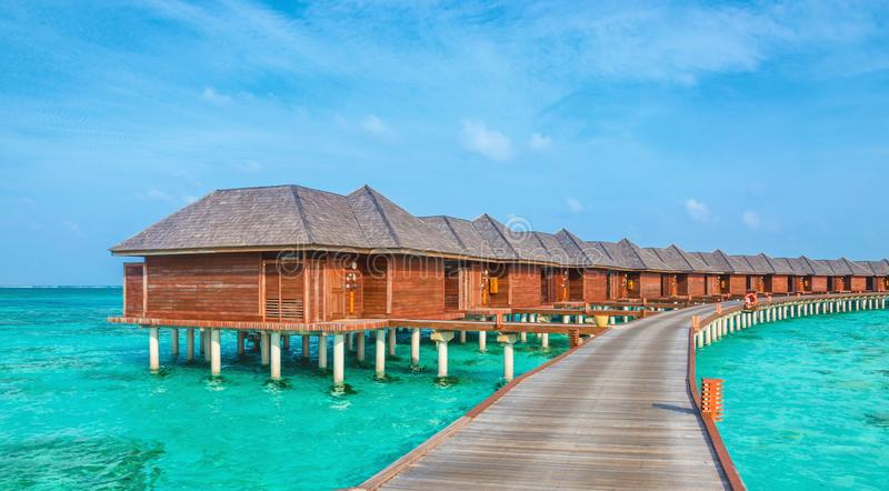 Over Water Bungalows On A Tropical Island Maldives Stock Image Image Of Bali Landscape 113615341