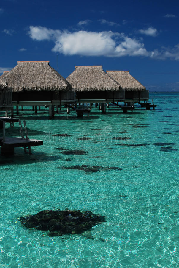 Over water bungalows on the water stock photography