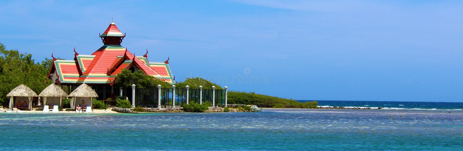 Over the water luxury restaurant Jamaica Maldives royalty free stock image