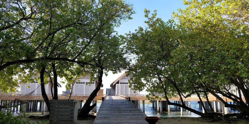 Over water villas stock photo