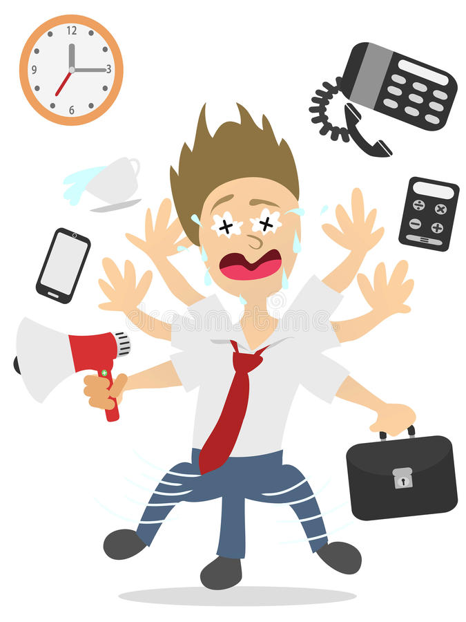 Over worked businessman vector illustration