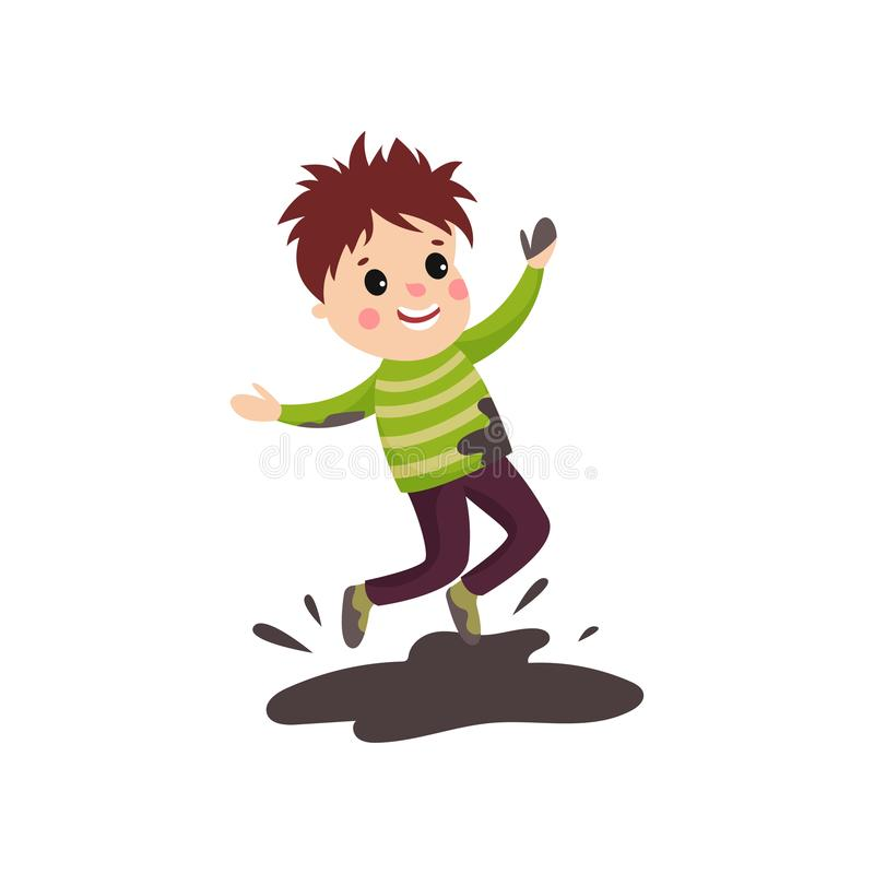 Overactive kid in soiled sweater and pants jumping in mud puddle. Overactive little kid in soiled sweater and pants jumping with hands up in mud puddle. Cartoon stock illustration