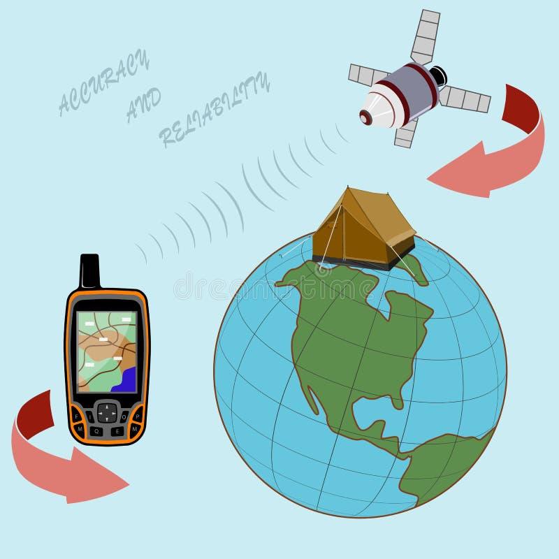 Overal in de wereld zult u een betrouwbare navigator hebben vector illustratie