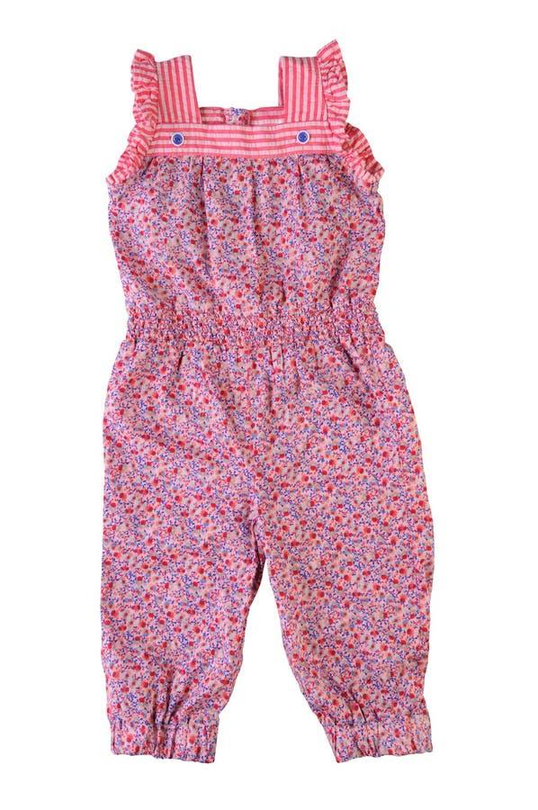 Overall in der Blume, für Mädchen, lokalisiert auf weißem Hintergrund Children& x27; s-Sommerkleidung stockfoto