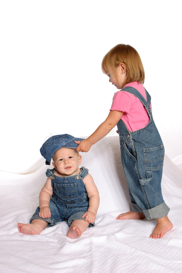 Overall siblings2 stock images