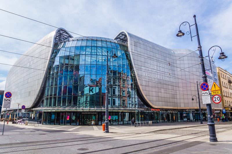Overall view of Galeria Katowicka. Mall in Katowice, Poland, on April 20, 2014. Together with the new railway station nearby it forms one of the most modern stock photos