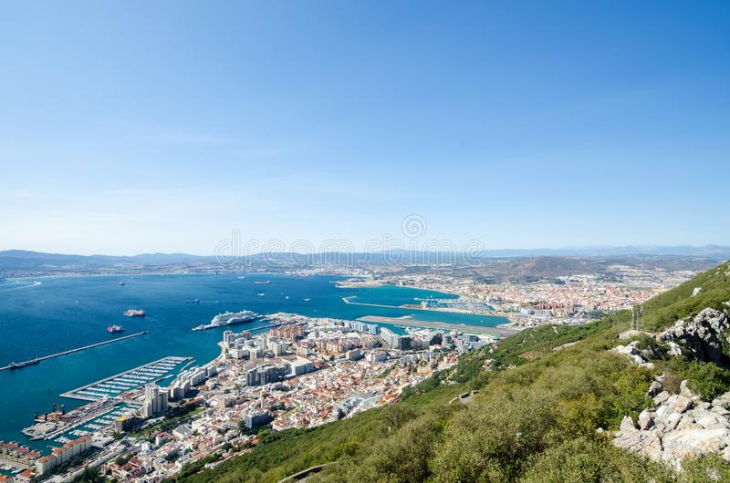 Overall view from top of the Rock of Gibraltar city royalty free stock photo