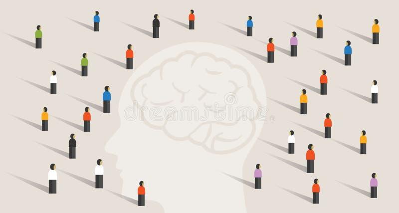 Overbevolk vele mensengroep die met grote hoofdmening samen denken van de de hersenengezondheidszorg van de intelligentiewijsheid royalty-vrije illustratie
