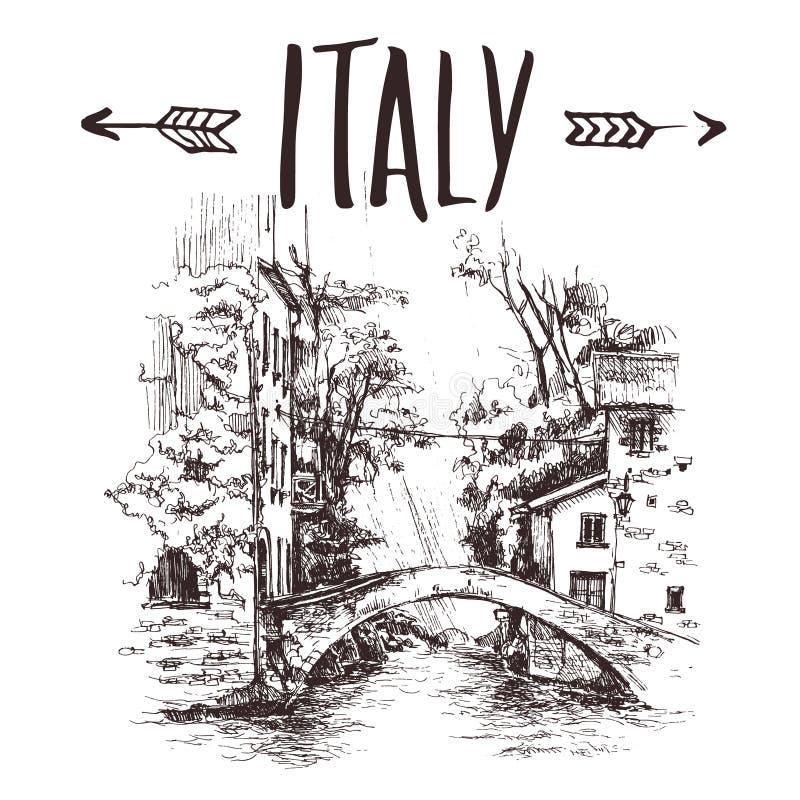 Overbrugt de hand getrokken brug van Italië, stedelijke schets Hand-drawn boekillustratie, toeristisch prentbriefkaar of affichem vector illustratie