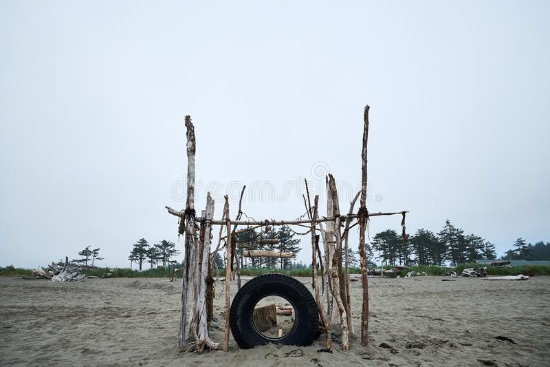 Overcast Beach Fort royalty free stock photos