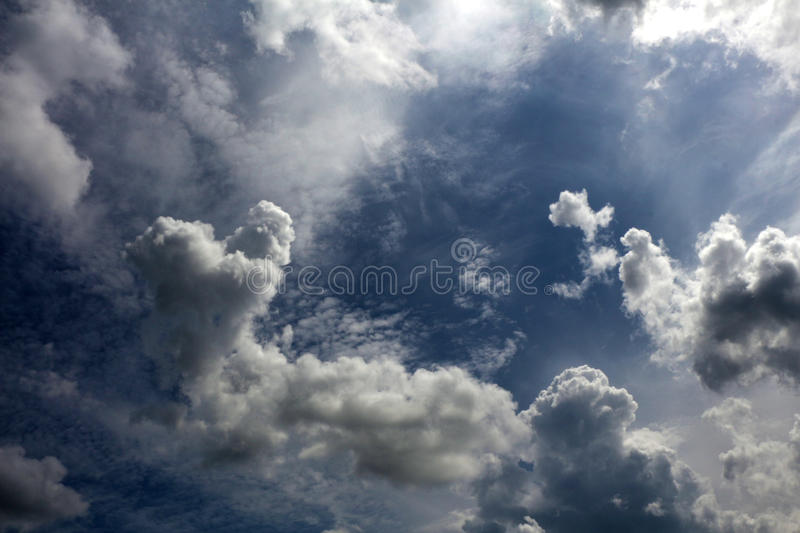 Overcast cloudy skies background. stock photo