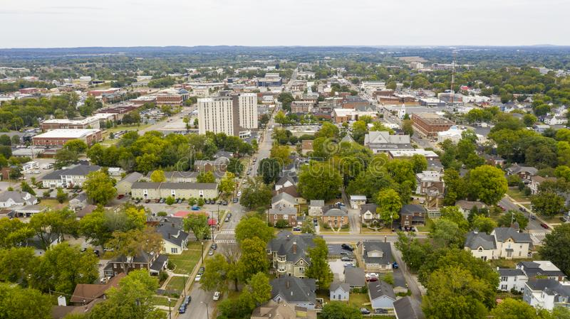 Overcast Day Aerial View over the Urban Downtown Area of Bowling Green Kentucky. Main streets running through the sleepy college town of Bowling Green KY royalty free stock photography