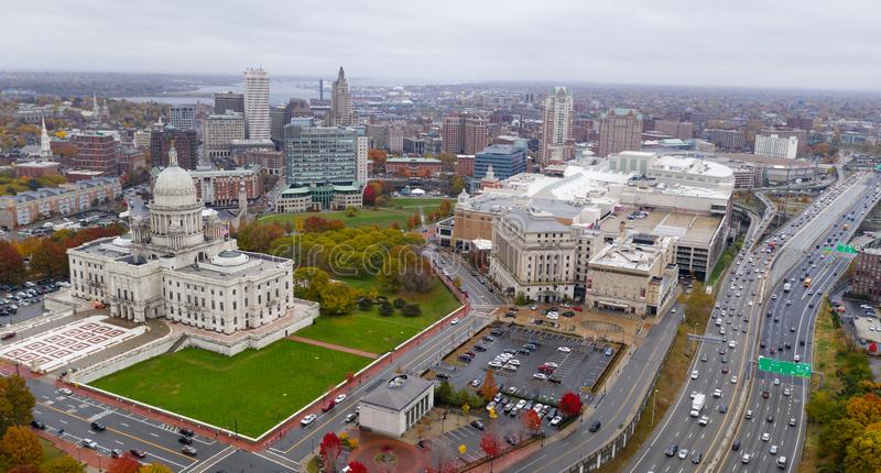 An overcast day over Hartford Connecticut and the urban city center landscape stock images