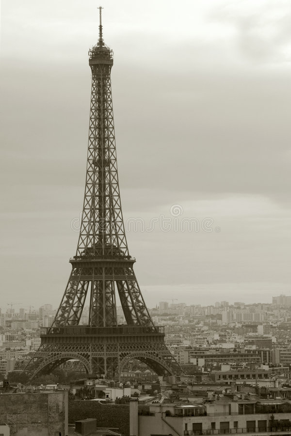 Overcast Paris and the Eiffel Tower royalty free stock image