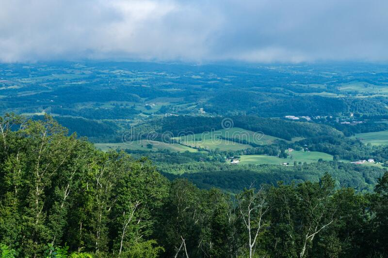 Overcast Skies Over Shenandoah Valley from the Blue Ridge Mountains royalty free stock images