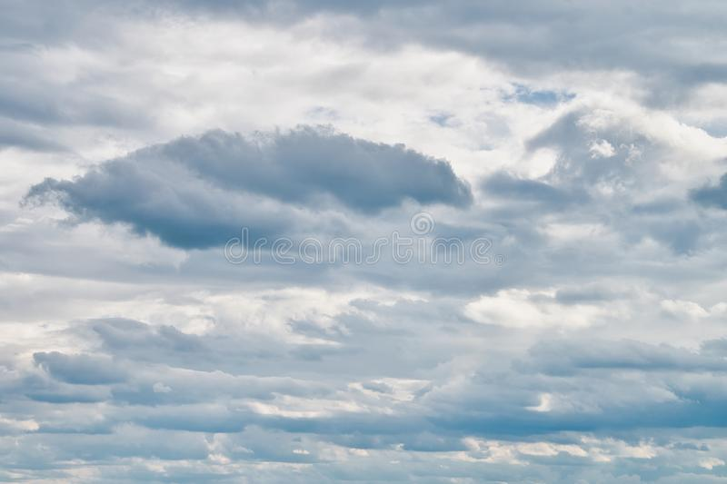 Overcast sky with dark clouds. The gray cloud, before rain stock images