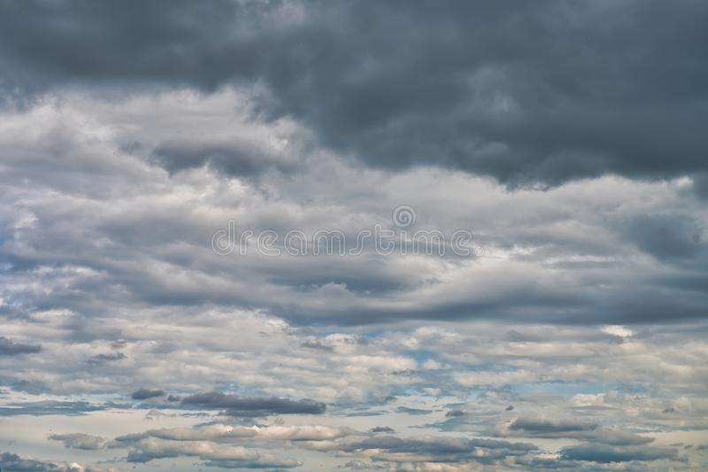 Overcast sky with dark clouds. The gray cloud, before rain stock photos