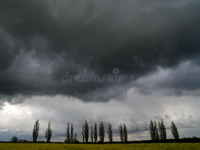Overcast sky with storm clouds. Overcast sky with gray, storm clouds stock image