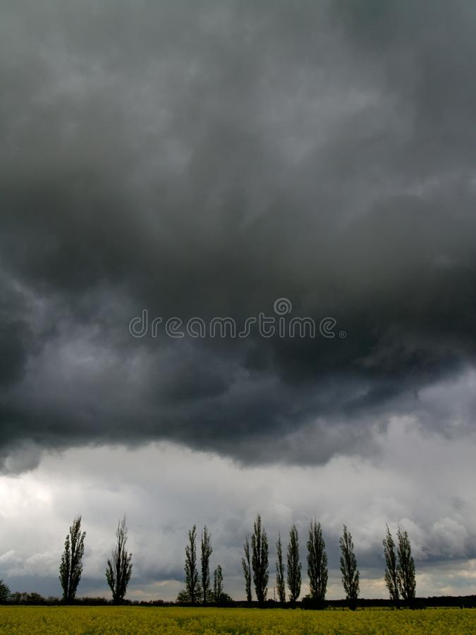 Overcast sky with storm clouds. Over the field royalty free stock image