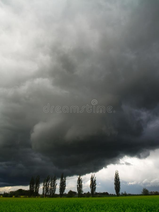 Overcast sky with storm clouds. Overcast sky with gray, storm clouds stock photo