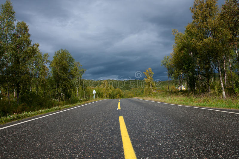 Overcast weather on a road stock photo. Image of scenic