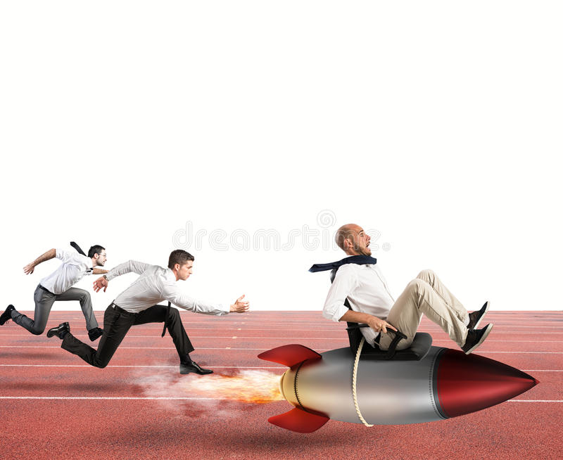 Overcome and achieve success. Businessman fly with rocket during a race with opponents royalty free stock photography