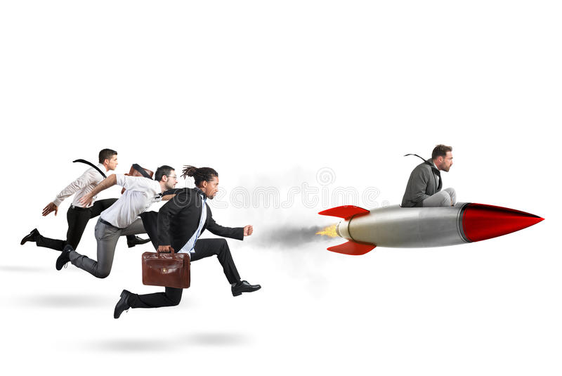 Overcome and achieve success 3D Rendering. Businessman fly with rocket during a race with opponents . 3D Rendering stock photography