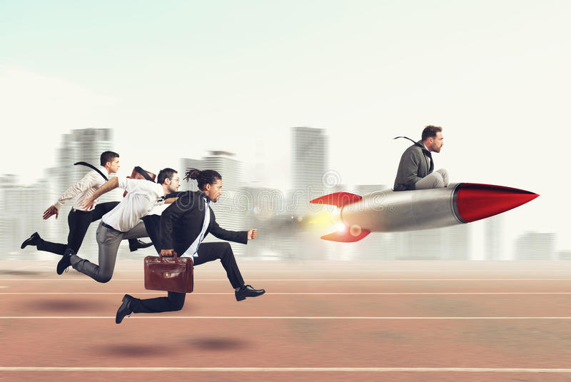 Overcome and achieve success 3D Rendering. Businessman fly with rocket during a race with opponents . 3D Rendering stock photos