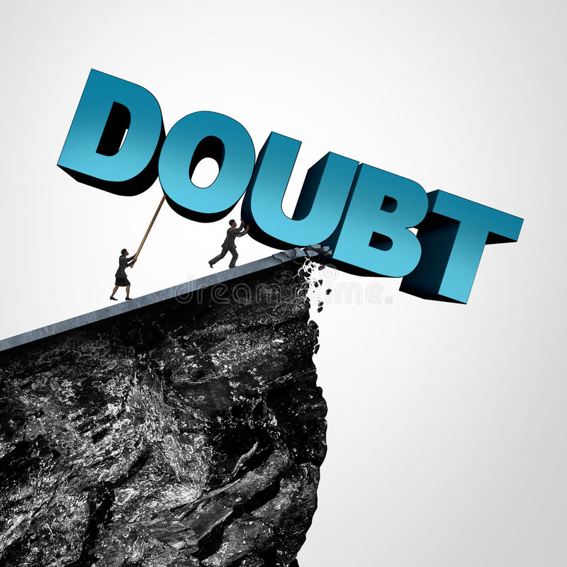 Overcome Doubt Concept. And increase confidence and belief or faith as people pushing text over a cliff as a business or lifestyle metaphor for fearless royalty free illustration