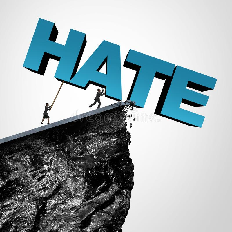 Overcome Hate Concept. And destroy hatred and racial bias or bigotry in politics or society as people pushing text over a cliff as a metaphor for fearless fight vector illustration