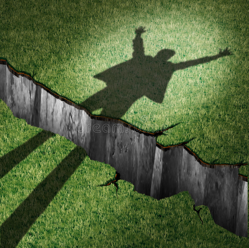 Overcome Obstacle. And concept of success power as a cast shadow of a cheering person leaping through a cliff opening as a metaphor for overcoming barriers and stock illustration