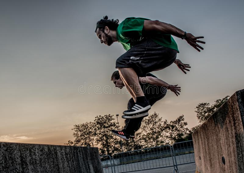 Overcome obstacles with jumps royalty free stock photos