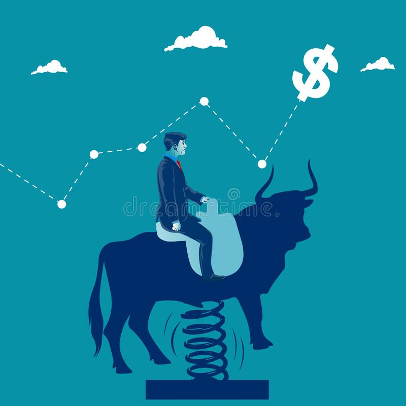 Overcoming business obstacles. Businessman jumping on his horse over obstacles. Business metaphor, vector illustration vector illustration