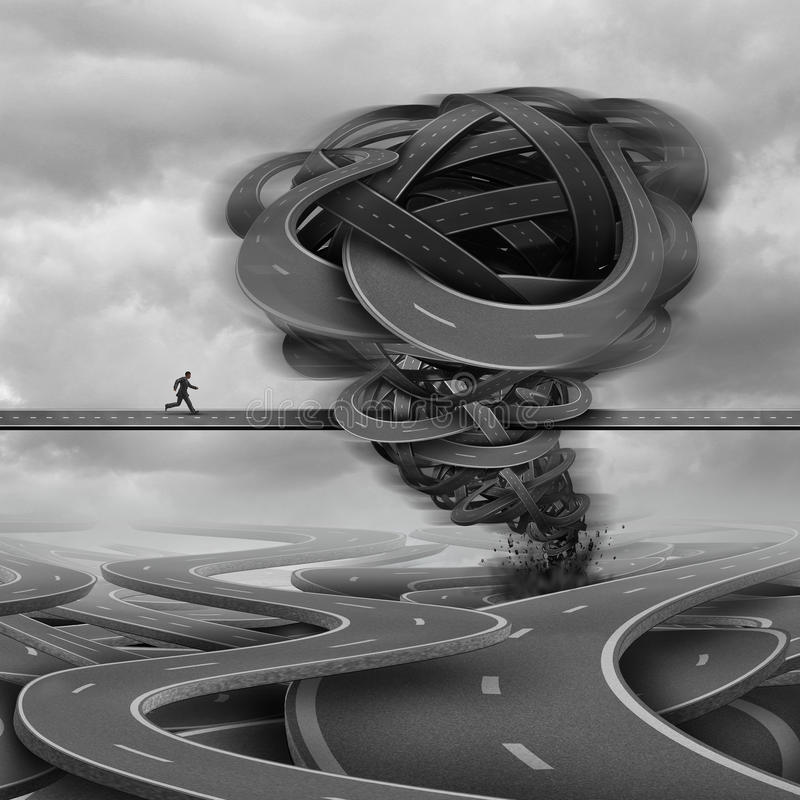 Overcoming Challenges. Business concept as a businessman trying to cross a path with a tornado obstacle made of roads in his way as a crisis and courage royalty free illustration