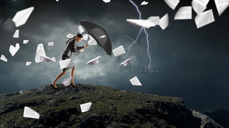 Overcoming challenges and crisis . Mixed media royalty free stock images