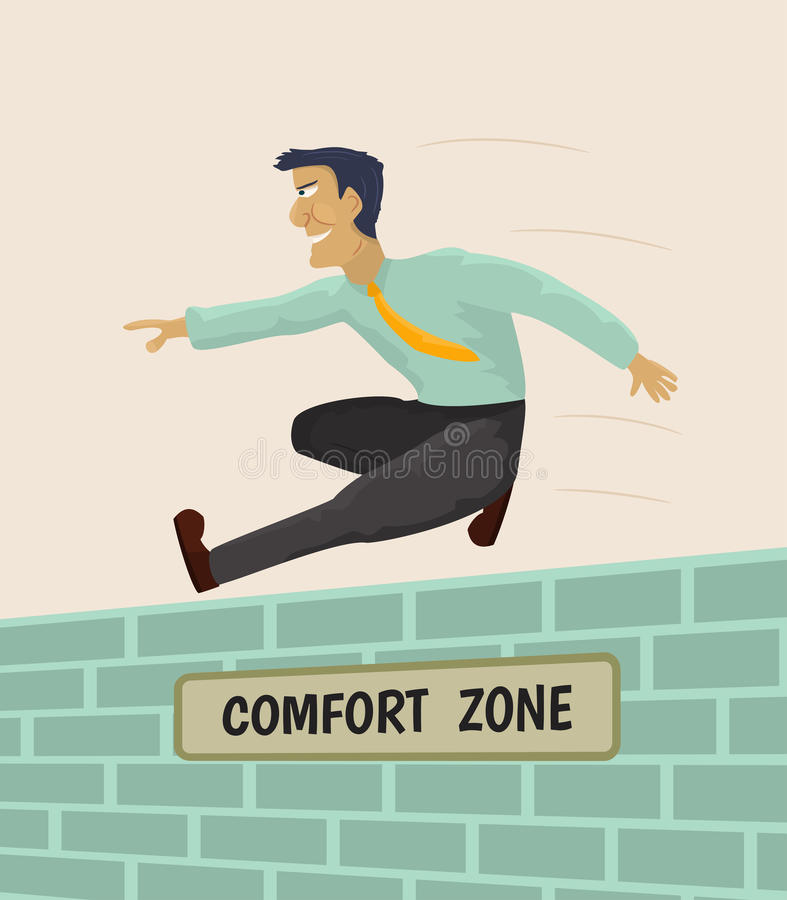 Overcoming comfort zone royalty free illustration