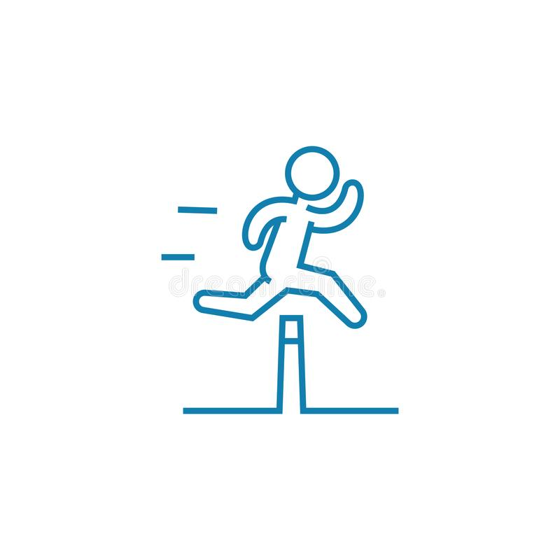 Overcoming difficulties linear icon concept. Overcoming difficulties line vector sign, symbol, illustration. Overcoming difficulties line icon, vector royalty free illustration